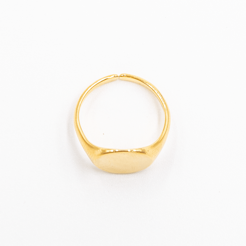 Signet Ring 14k Gold Adjustable Top View