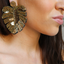 Statement Gold Leaf Dangle Earrings Styled- Arlo And Arrows