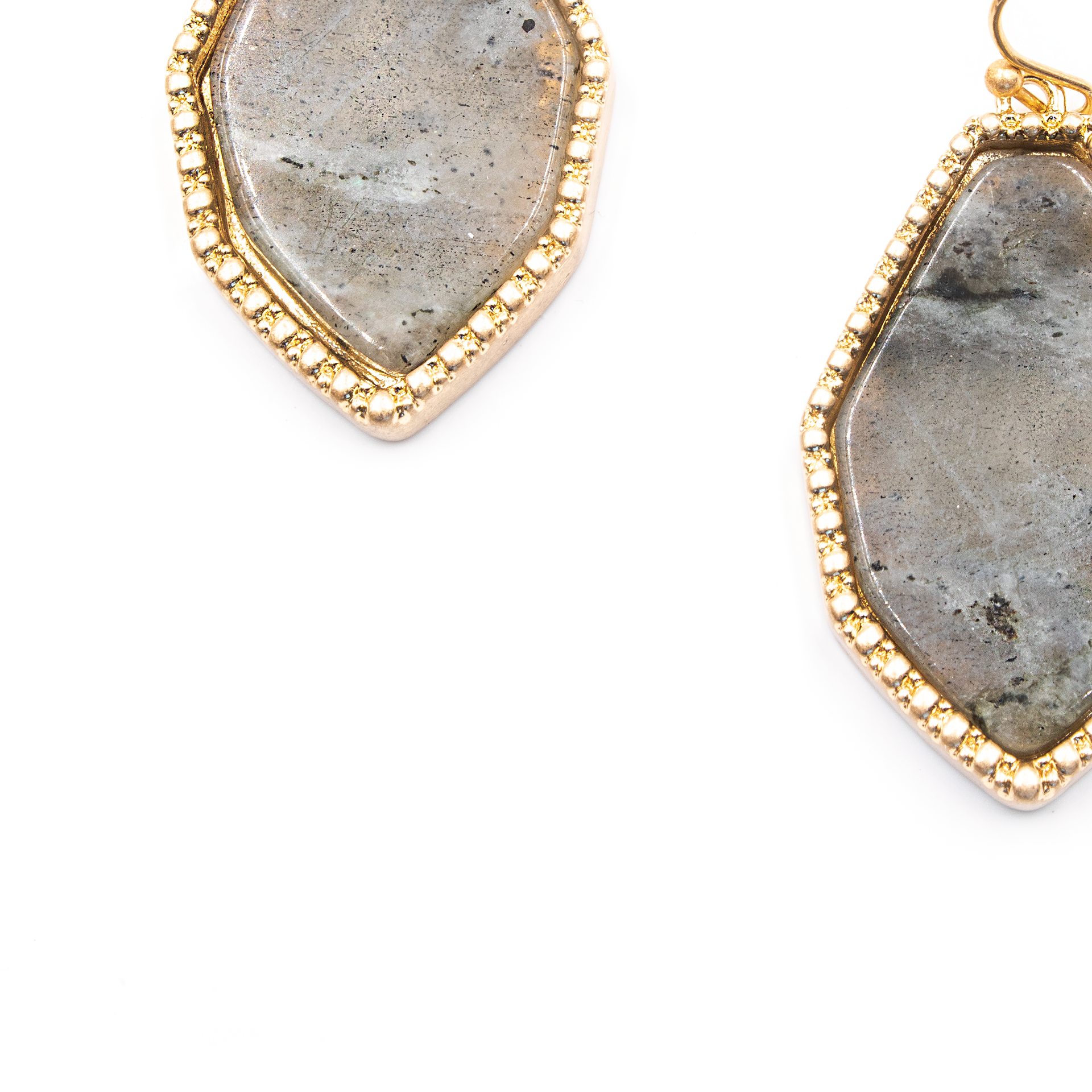 Semi Precious Gray Stone Earrings - Close Up