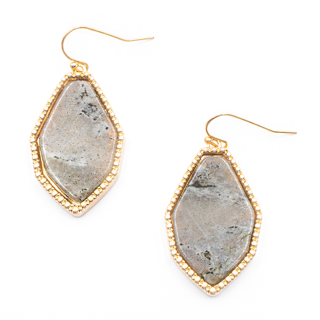 Semi Precious Gray Stone Earrings