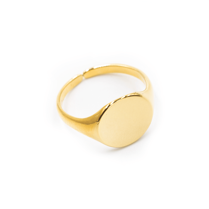 Signet Ring 14k Gold Adjustable