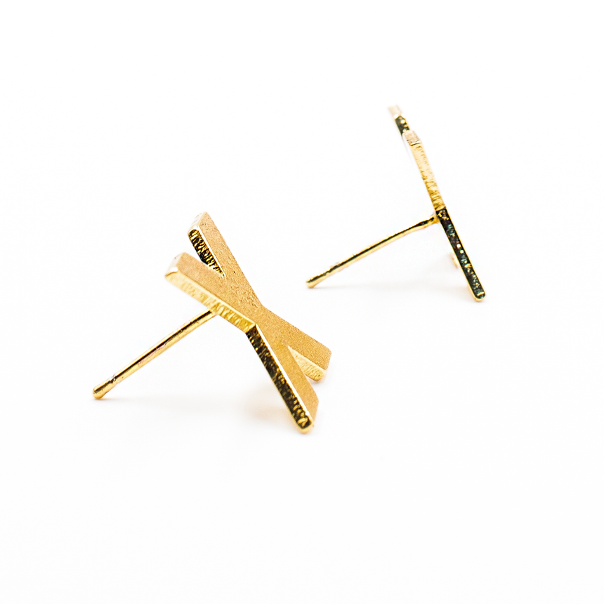 Gold X Shaped Stud Earrings Side View - Arlo And Arrows