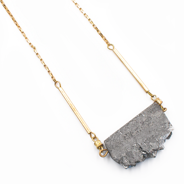 Gray Druzy Pendant Necklace - Arlo And Arrows
