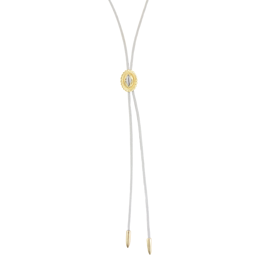 Bolo Necklace In Grey And Gold - Arlo And Arrows