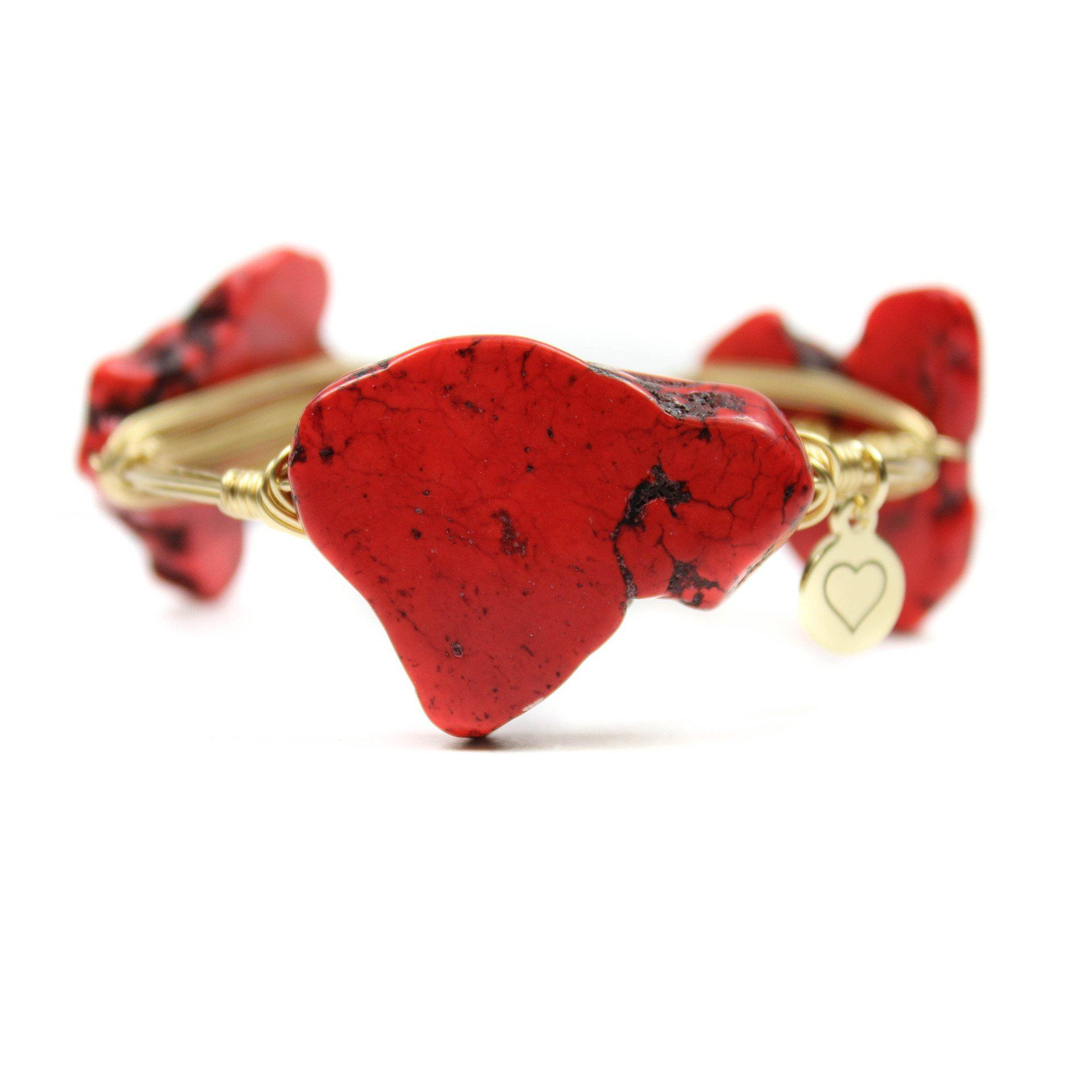 Heart Collection Red Bangle Bracelet - Arlo and Arrows