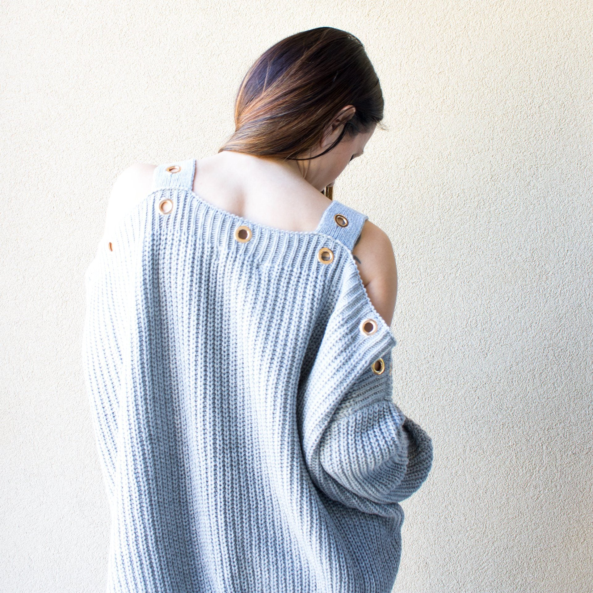 Grey Sweater with Eyelet Trim and Cold Shoulder - Arlo and Arrows