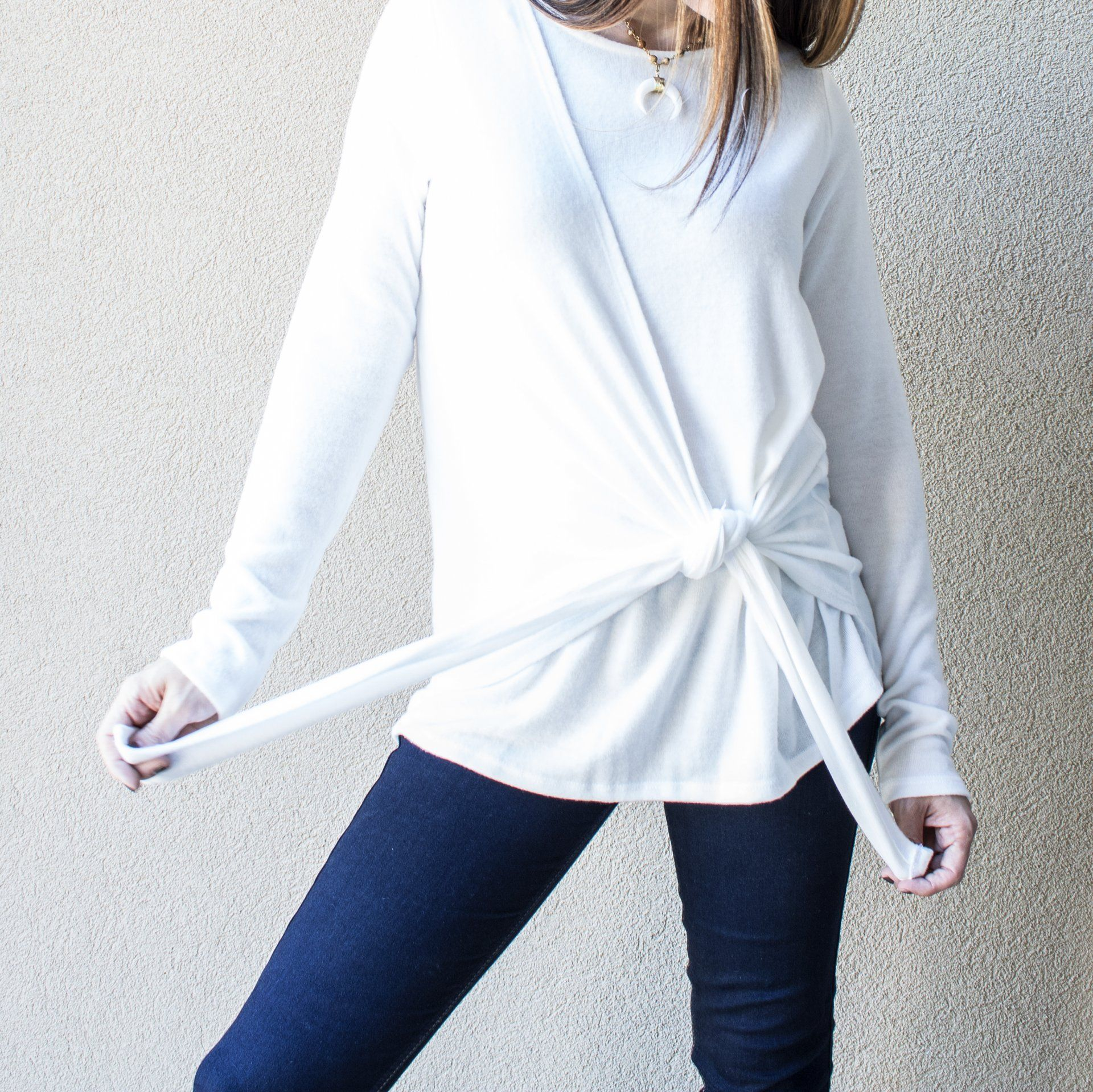 Brushed Cashmere Like, Long Sleeve Tie Sweater in White - Arlo and Arrows