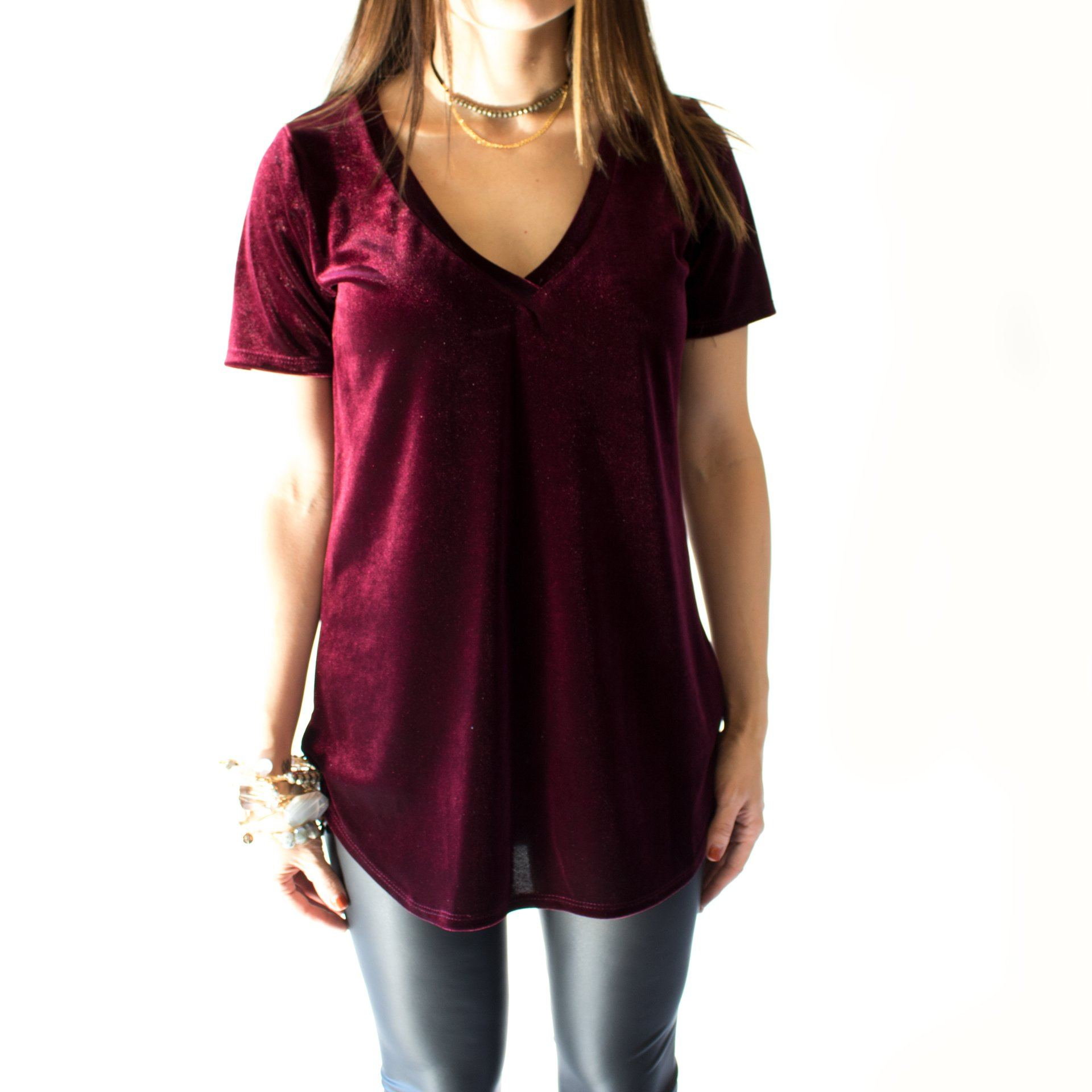 Velvet Short Sleeve V-Neck Top In Burgundy - Arlo and Arrows