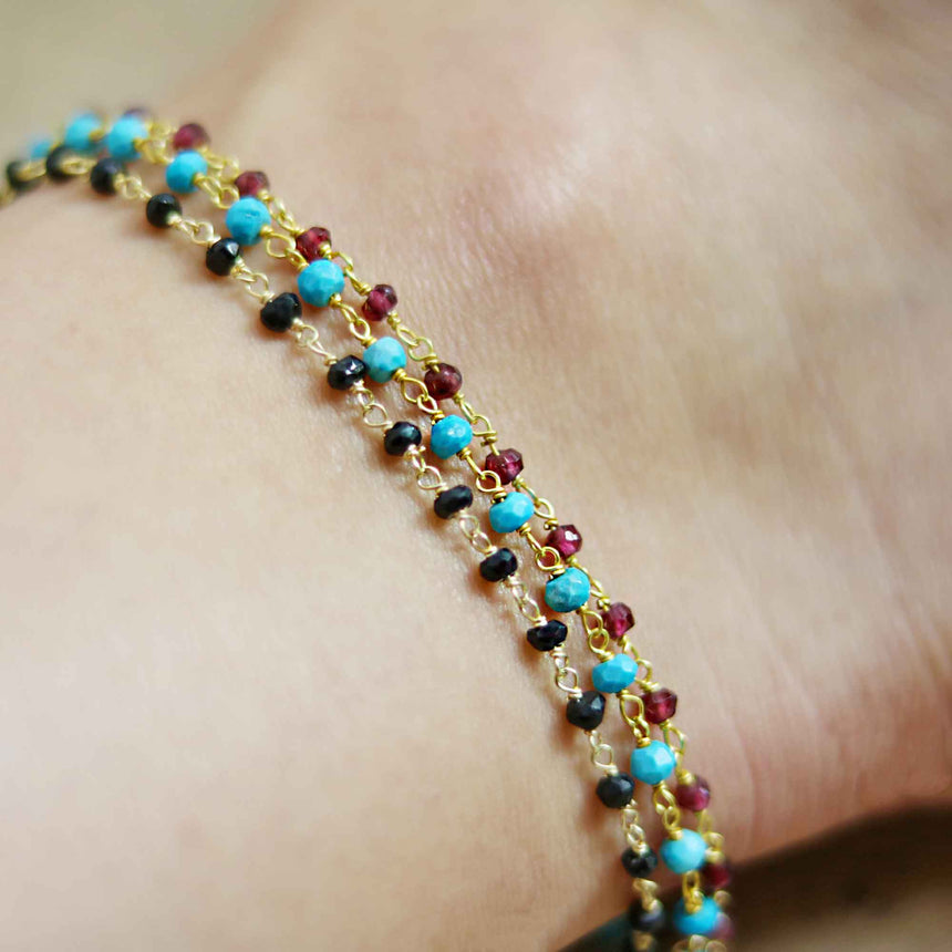 Cleopatra 14 Karat Gold Plated Black Spinel Anklet