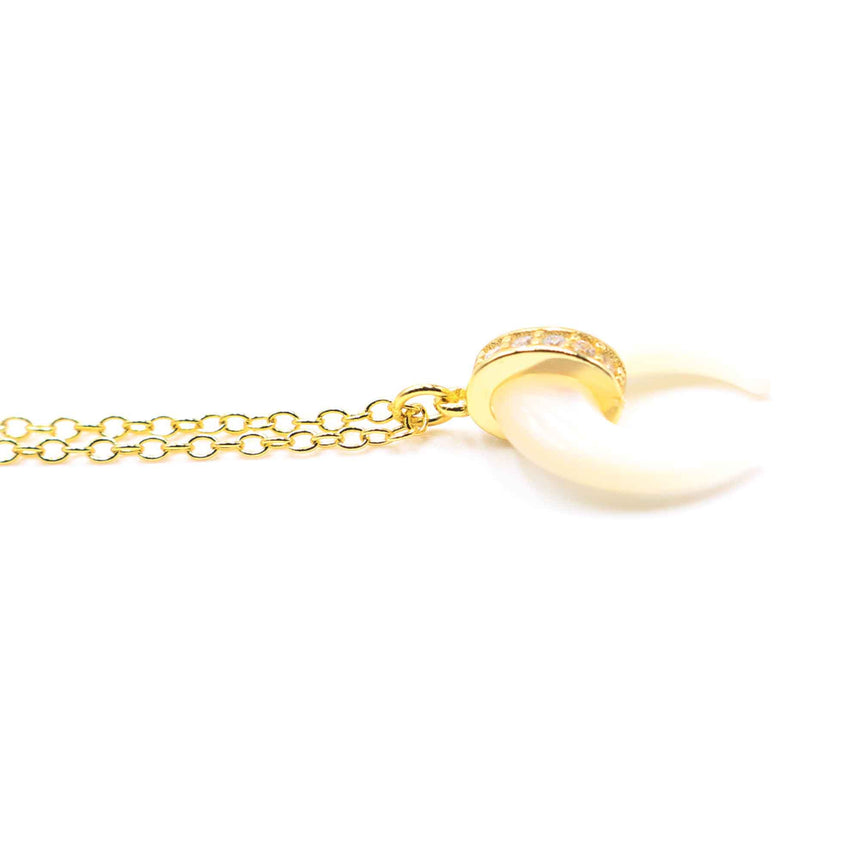 Mother of Pearl Crescent Gold Plated Necklace