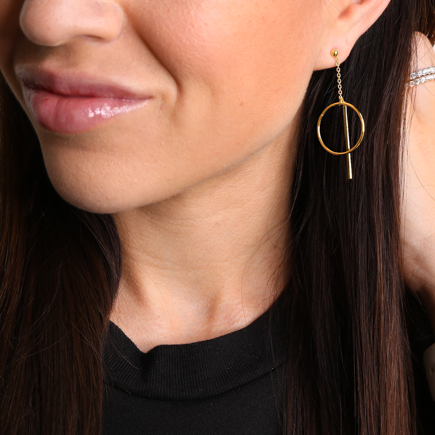 14K Gold Plated Statement Bar Earrings