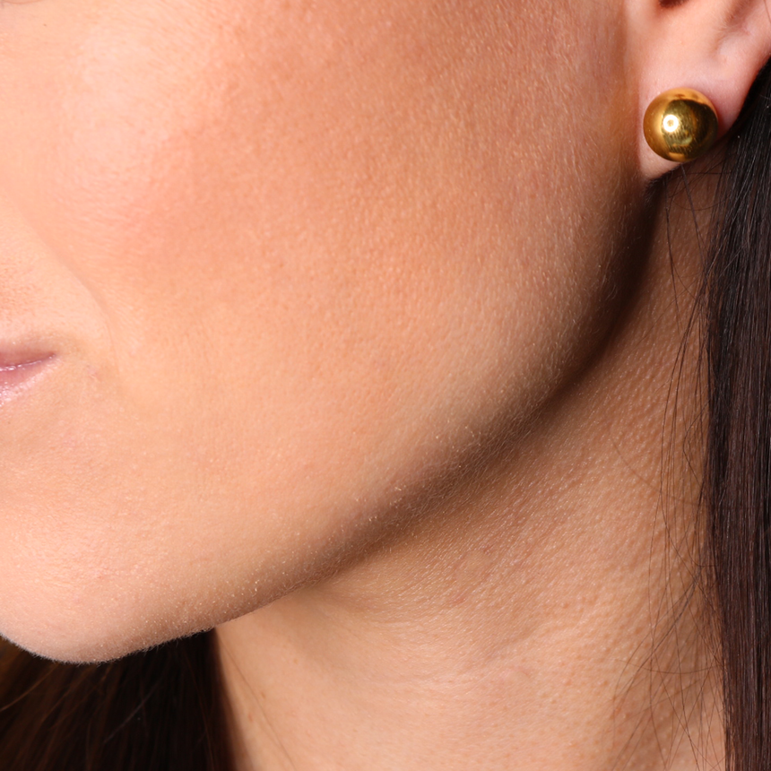 14K Gold Plated Ball Stud Earrings