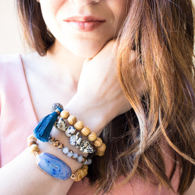 Brown and Navy Beaded Bracelet Set