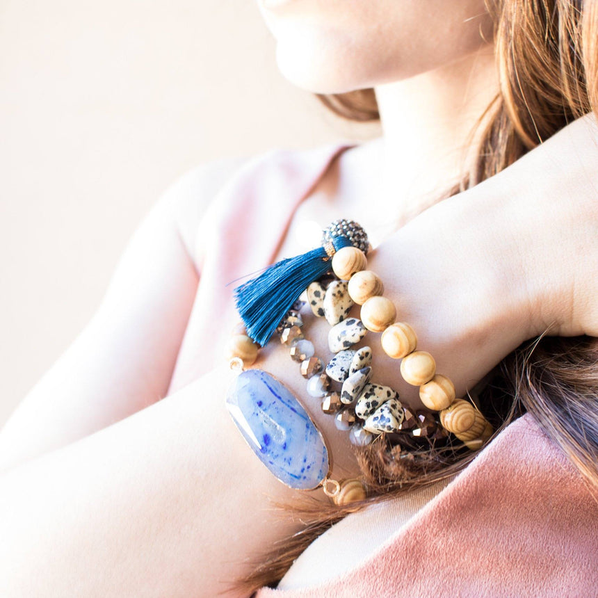 Brown and Navy Beaded Bracelet Set - Arlo and Arrows