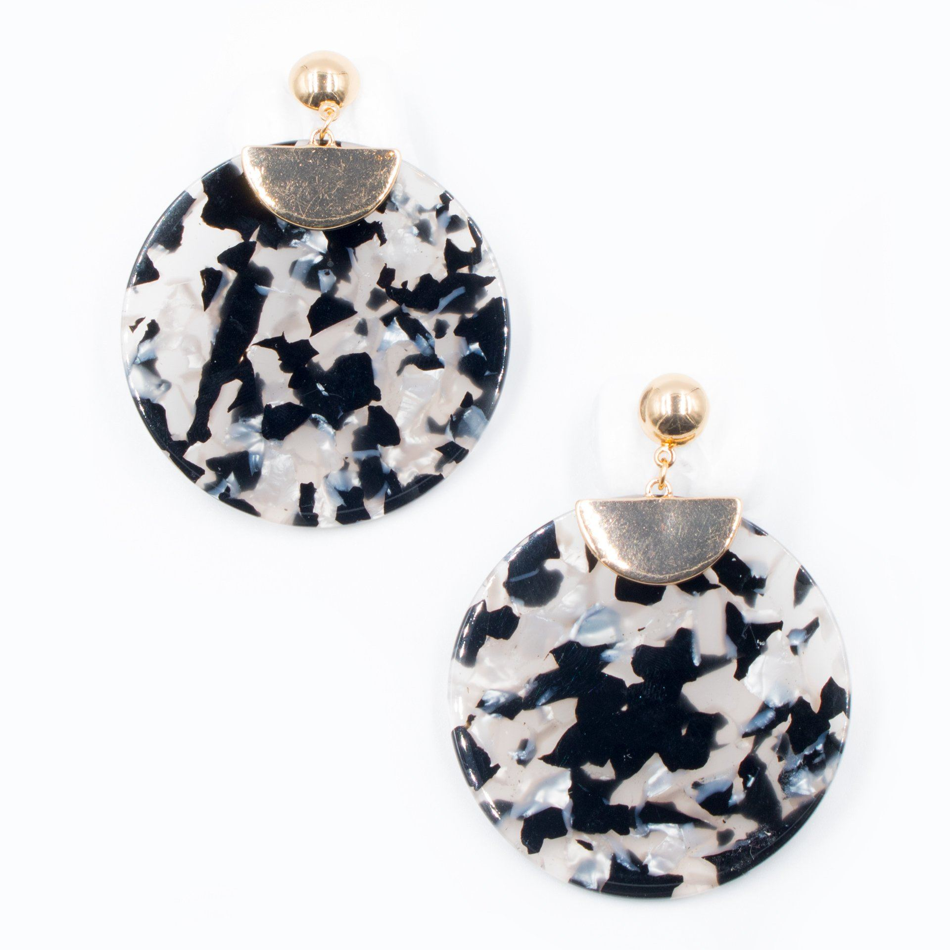Lynn Round Marmol Statement Earrings - Arlo and Arrows