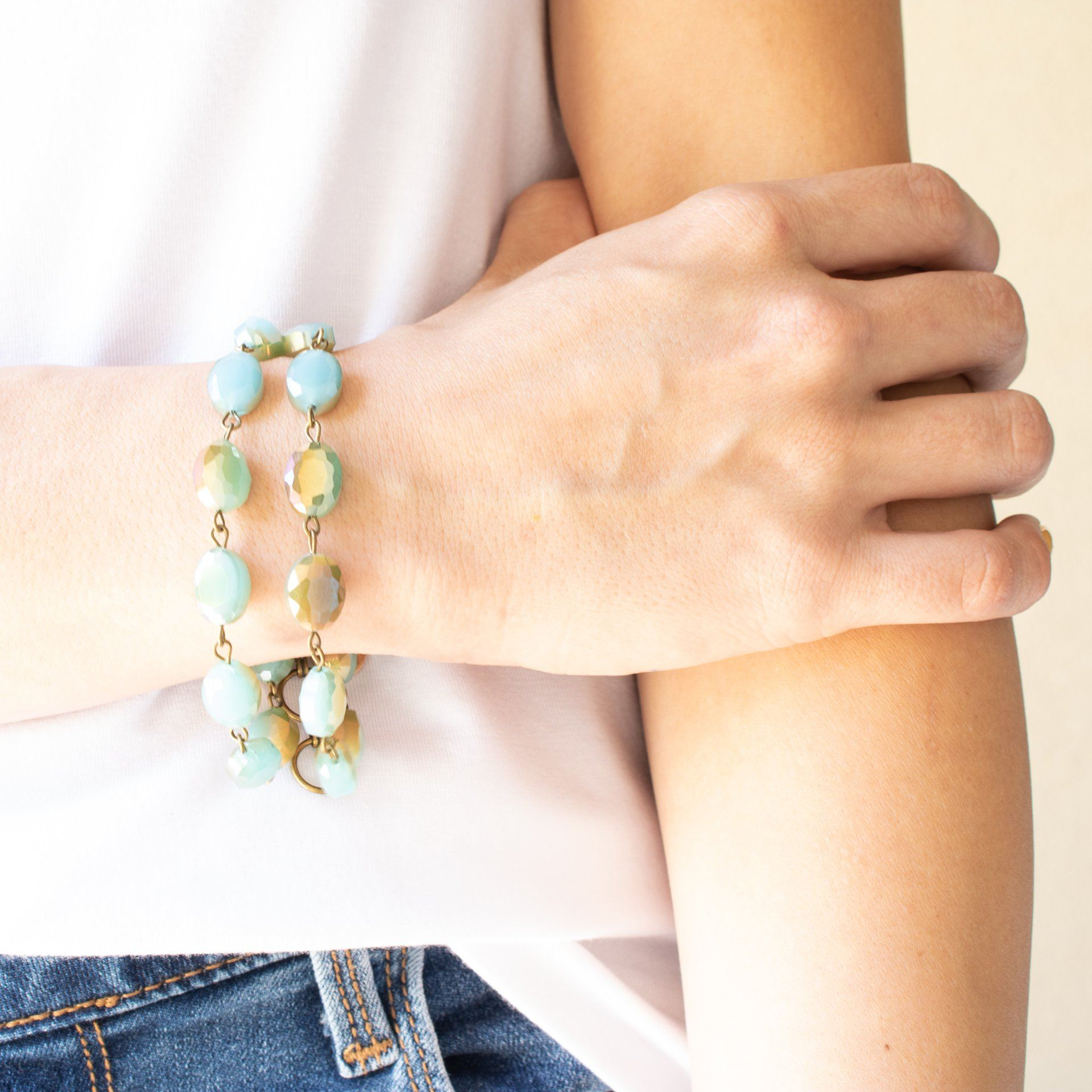 Double Stranded Turquoise Gemstone Bracelet - Arlo and Arrows