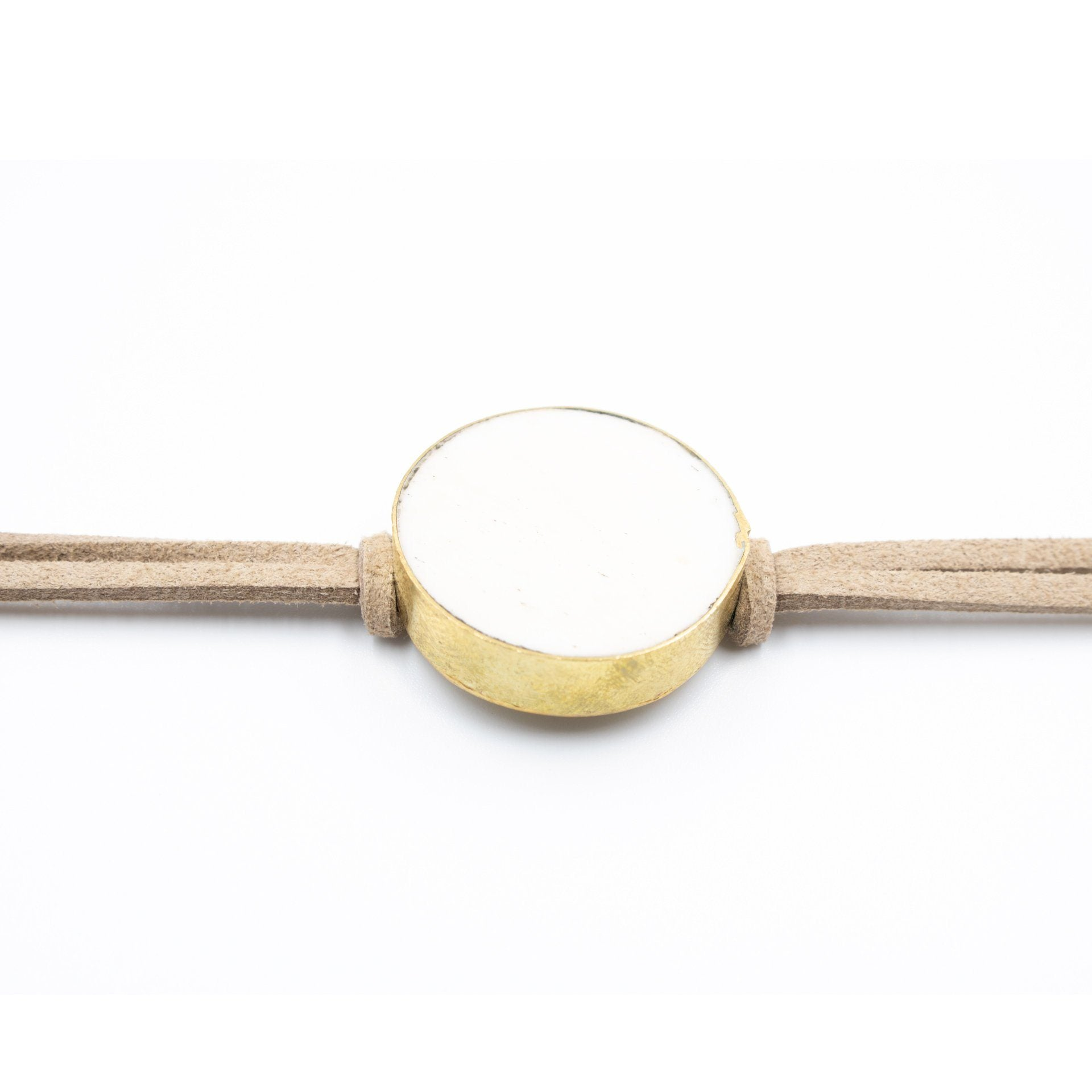 Ivory Ox Bone Flat Round Choker in Tan Suede - Arlo and Arrows
