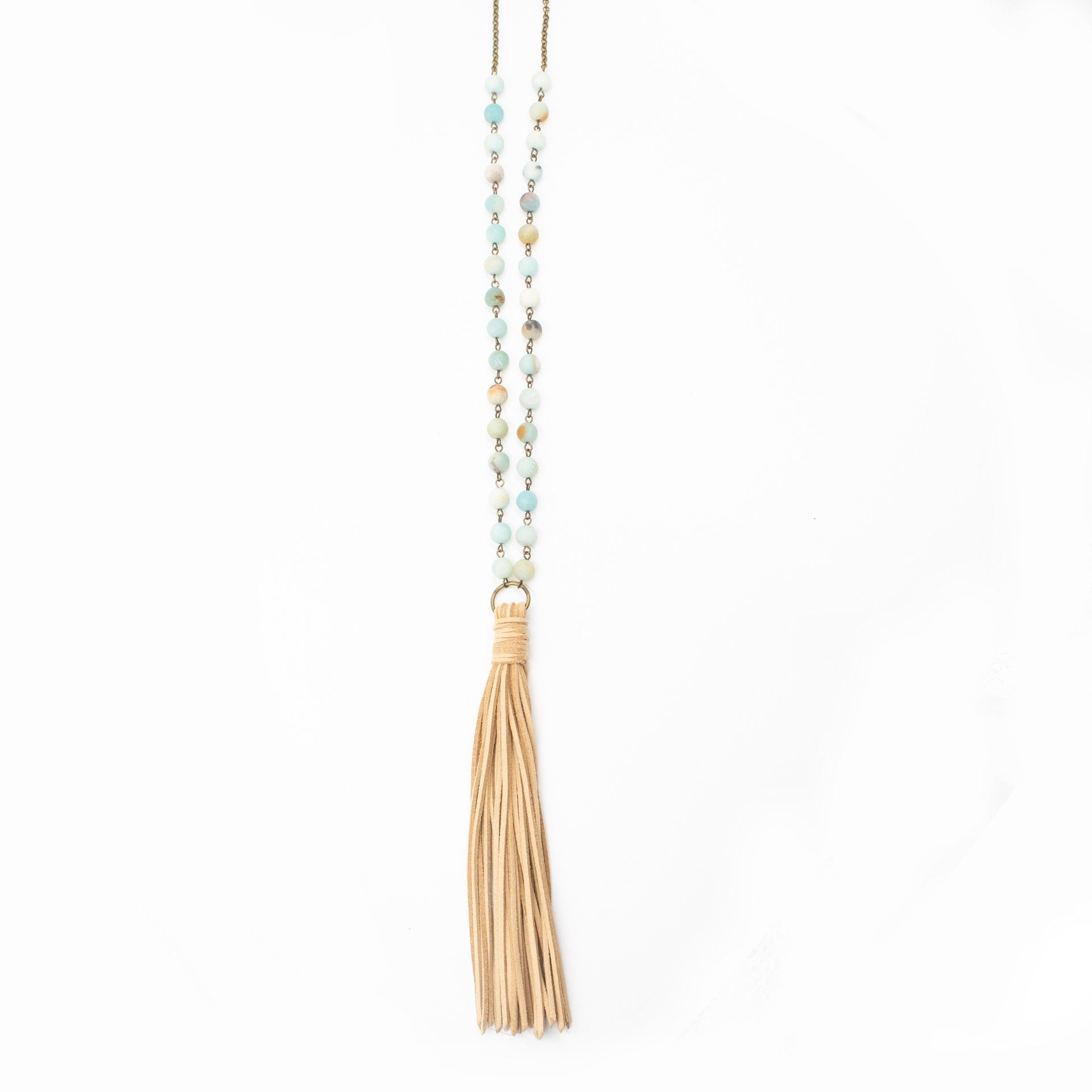 Long Beaded Tan Suede Tassel Necklace - Arlo and Arrows