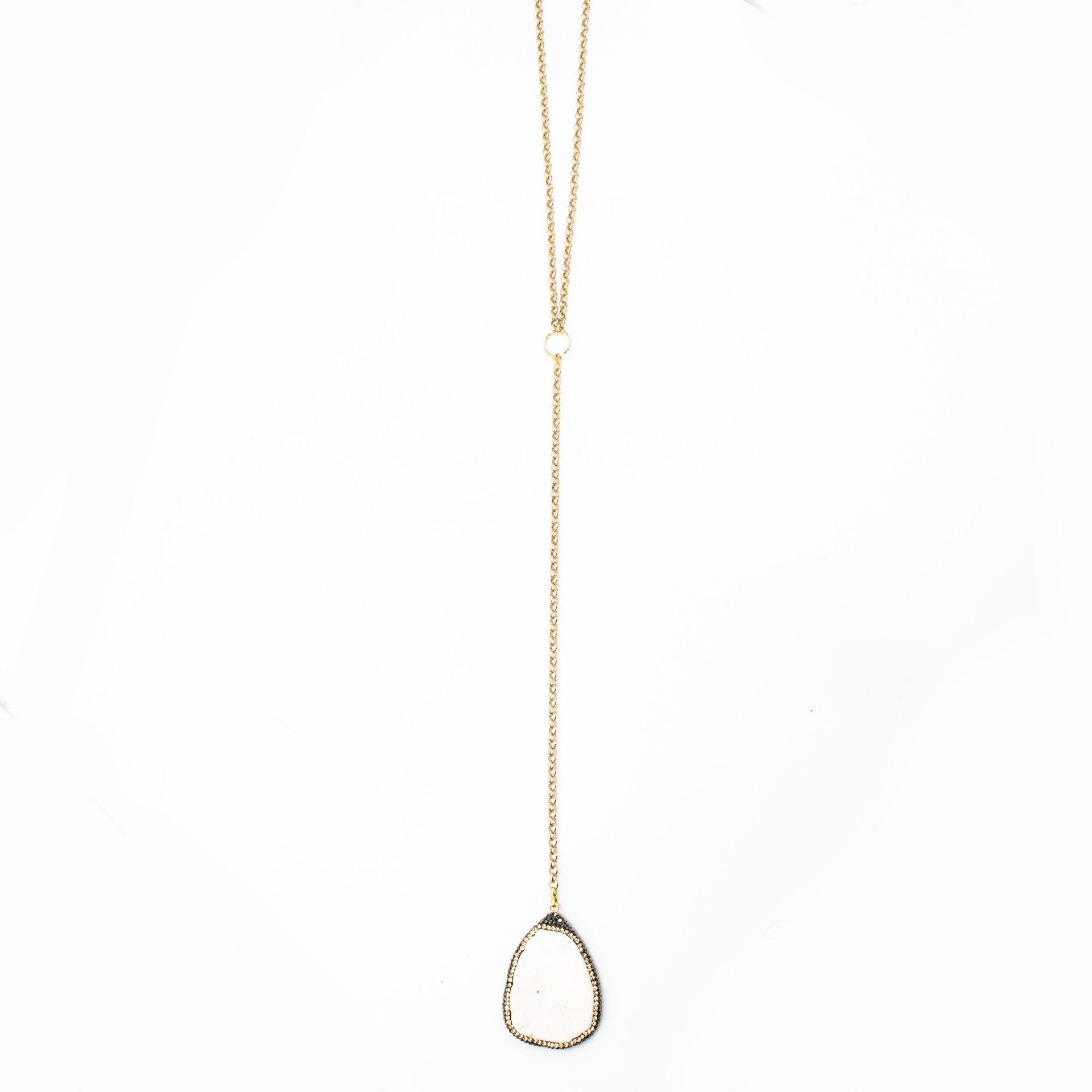 Howlite Pave Lariat Necklace