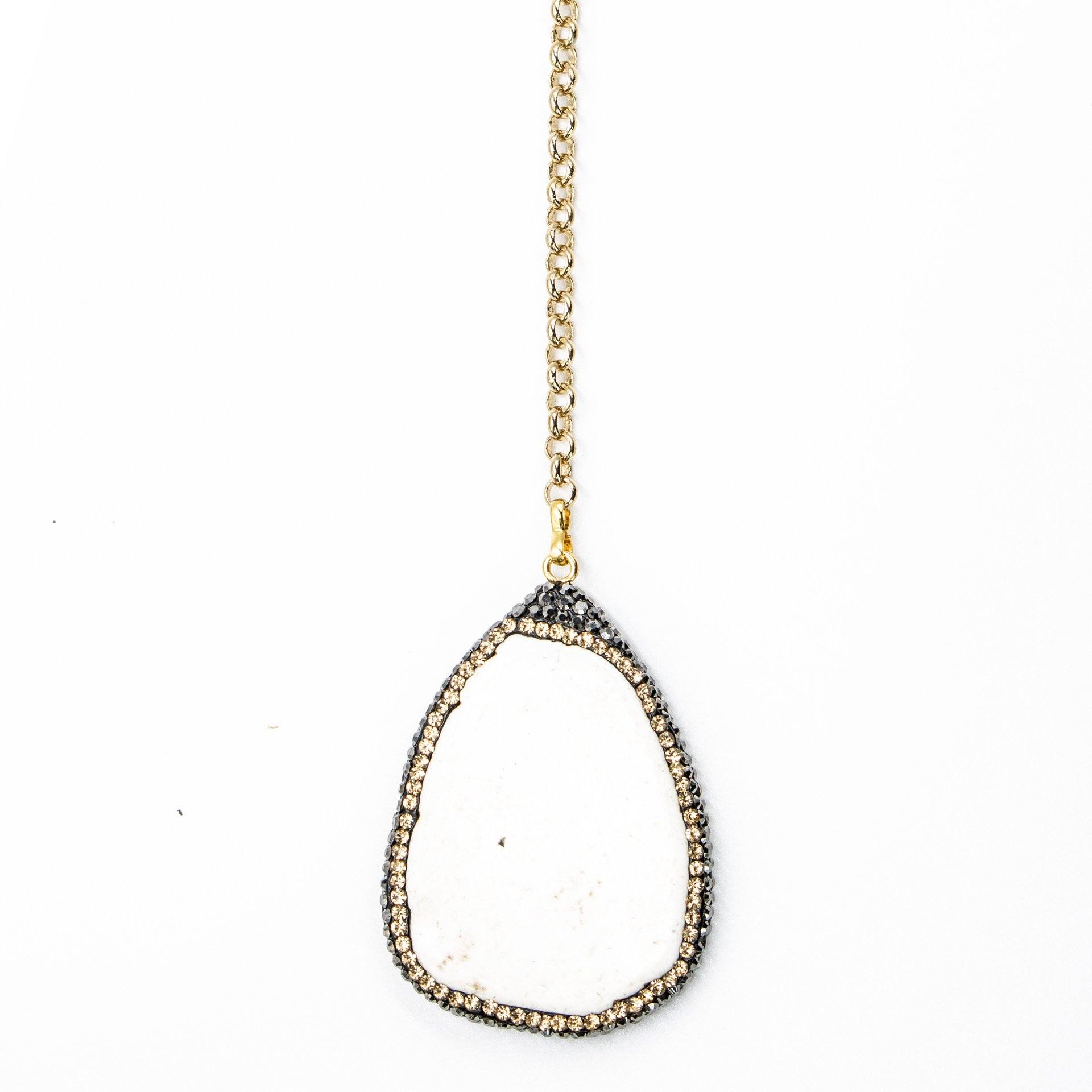 Howlite Pave Lariat Necklace Close Up