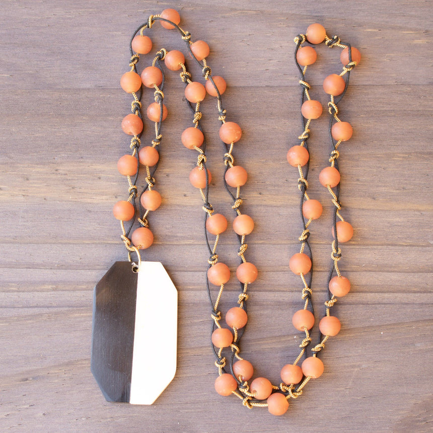 Hand Knotted Rust Agate Necklace With Ox Bone Pendant - Arlo and Arrows