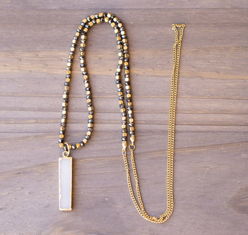 Midnight Blue And Gold Beaded Necklace With Petite Rectangular Stone Pendant - Arlo and Arrows