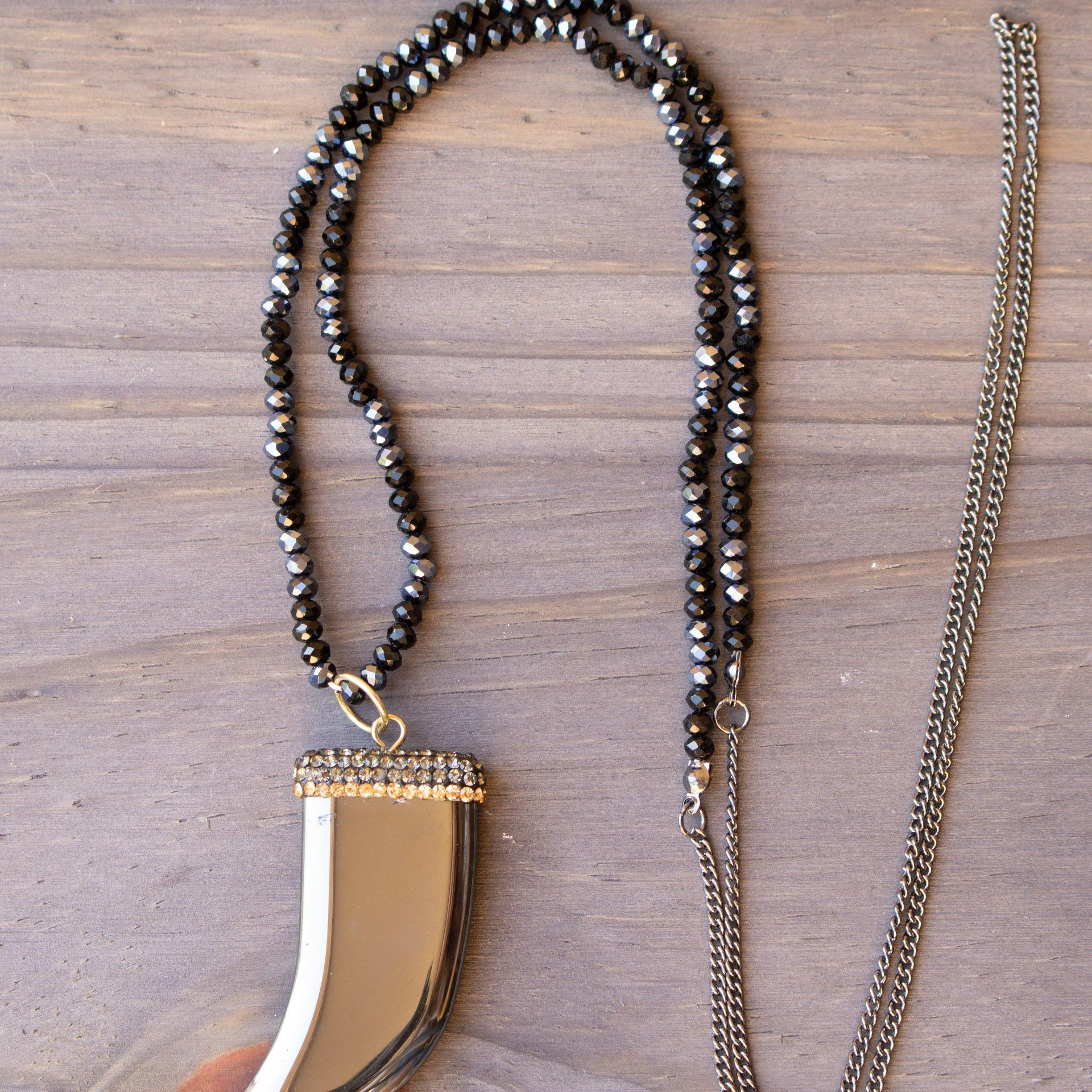 Beaded Necklace With Crystal Rhinestone Hematite Pendant - Arlo and Arrows