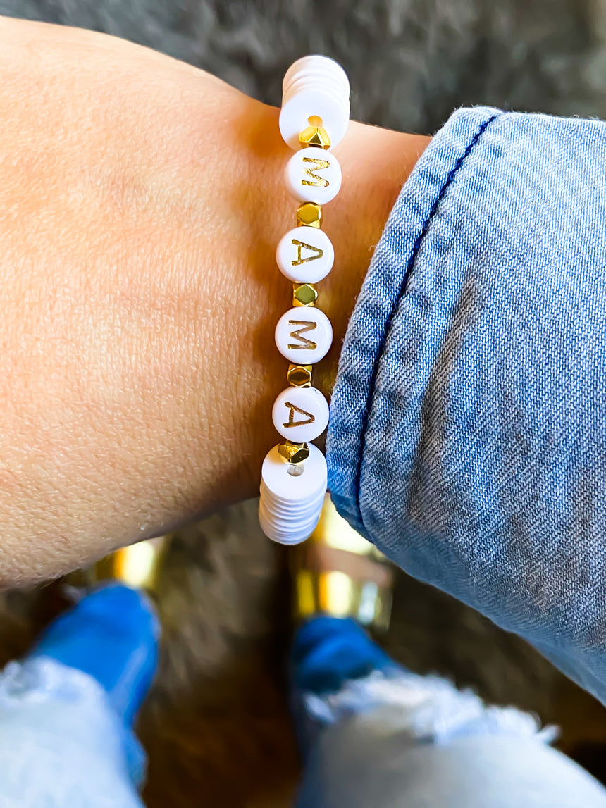 The Mama Letter Bead Bracelet - Bourbon And Boweties