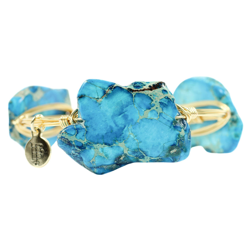 Blue Stone Bangle Bracelet - Arlo And Arrows