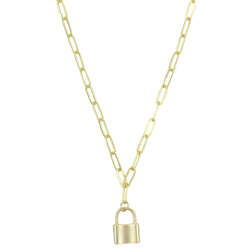The Halston Chain Lock Necklace In Gold