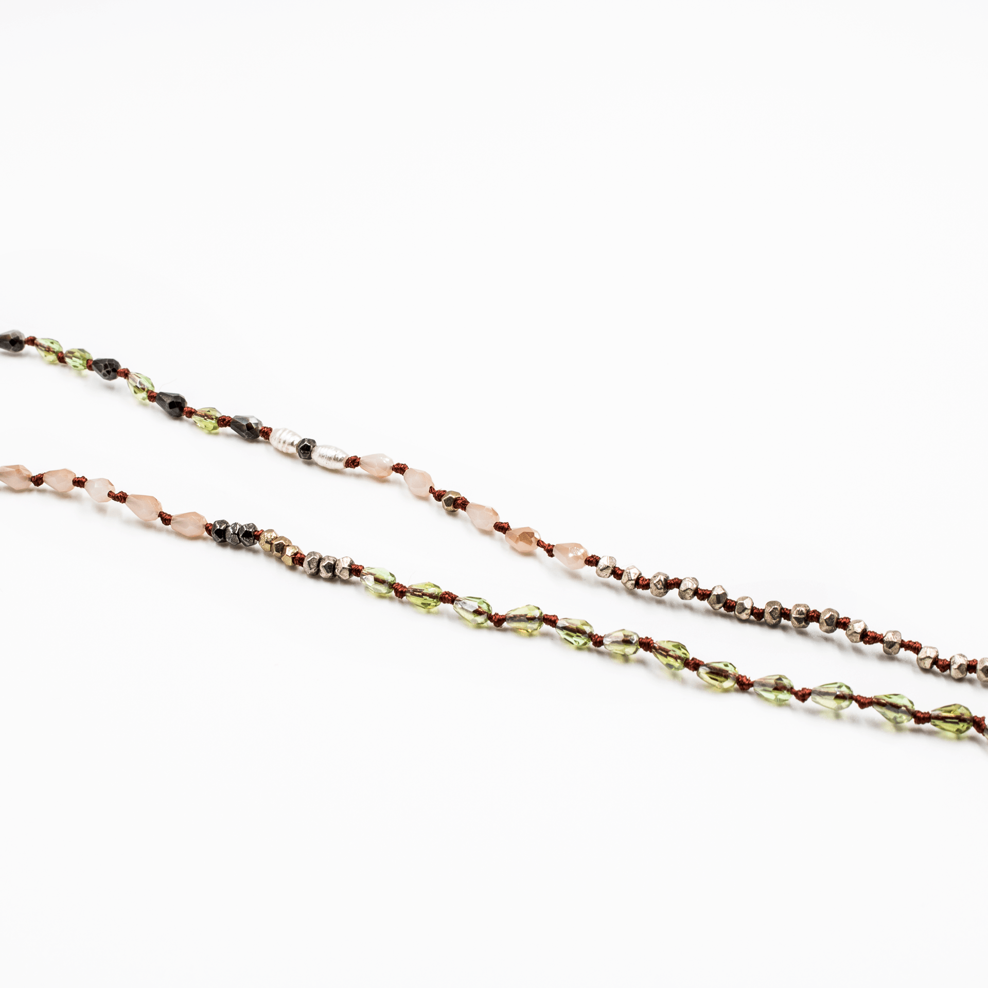 Delicate Beaded Light Burgundy Necklace With Natural White Stone - Arlo and Arrows