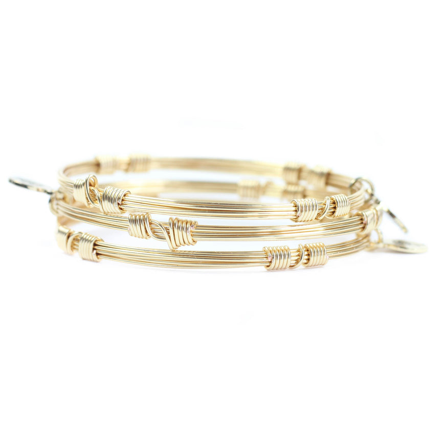 Gold Bangle Stacker Bracelets (Set of 3)