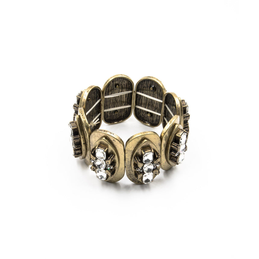 Burnished Gold Rhinestone 'Eros' Stretch Bracelet - Arlo and Arrows