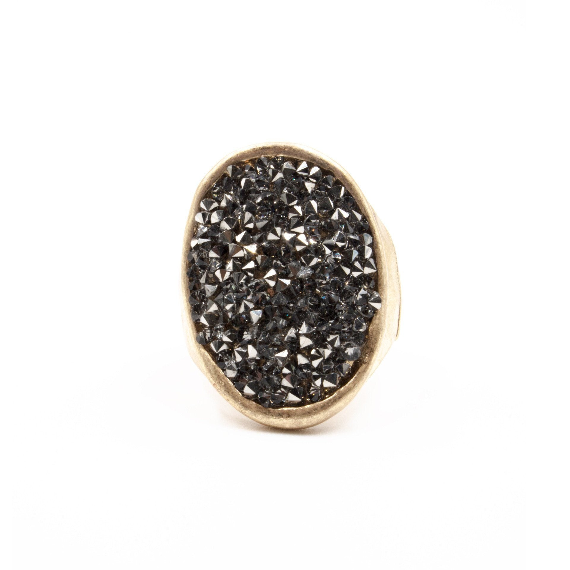 Druzy 'Dimensions' Hematite Stretch Ring - Arlo and Arrows