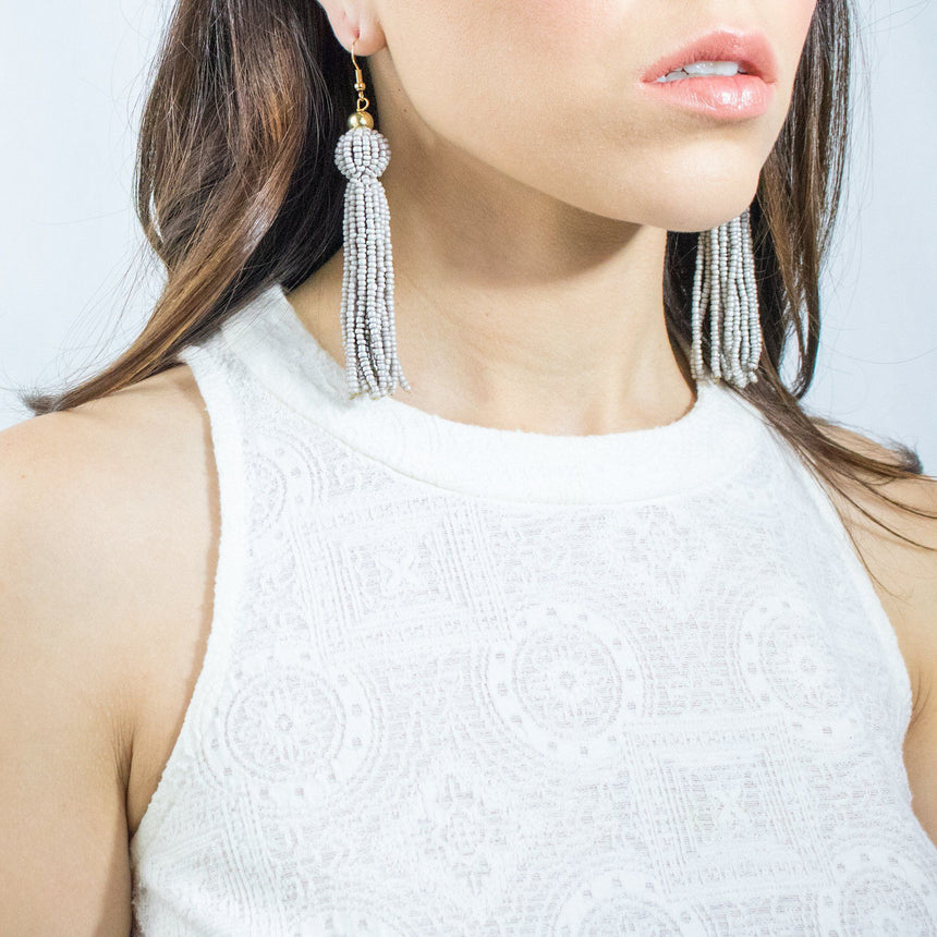 'Bria' Beaded Tassel Earrings - Arlo and Arrows