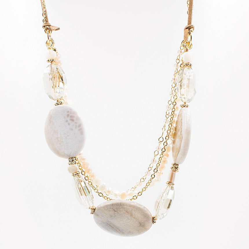 Fresh Water Pearl & Precious Stone Necklace - Arlo and Arrows