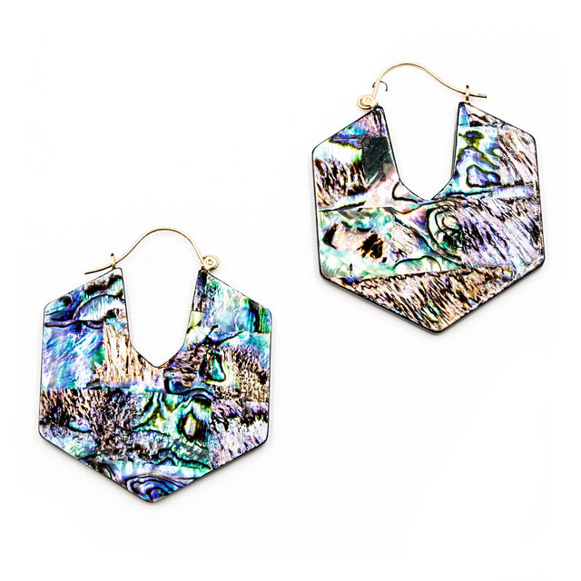 Women's Abalone Statement Earrings
