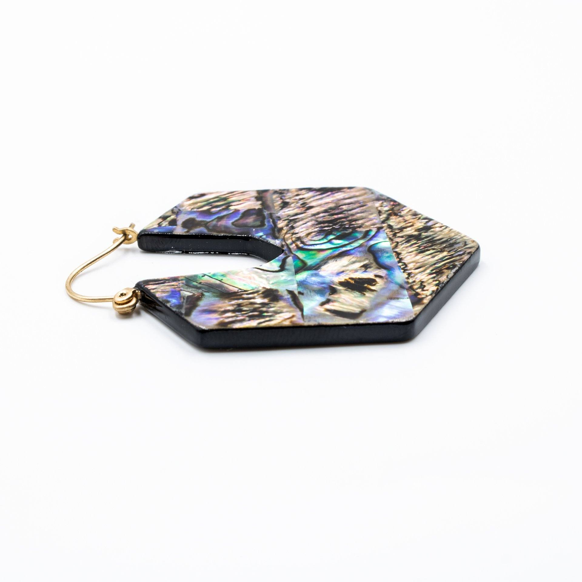 Women's Abalone Statement Earrings - Side View