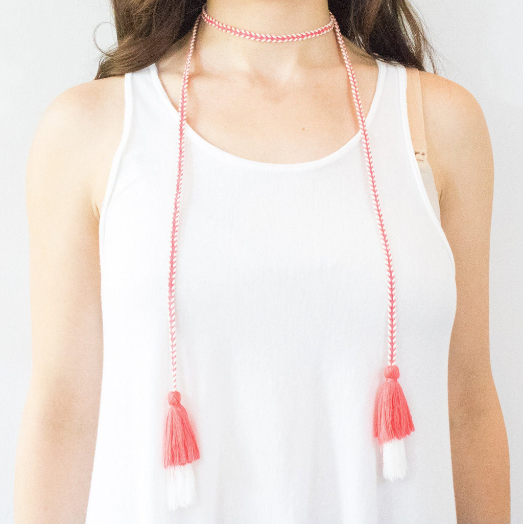 Braided Tassel Lariat/Choker Necklace (2 Variations) - Arlo and Arrows