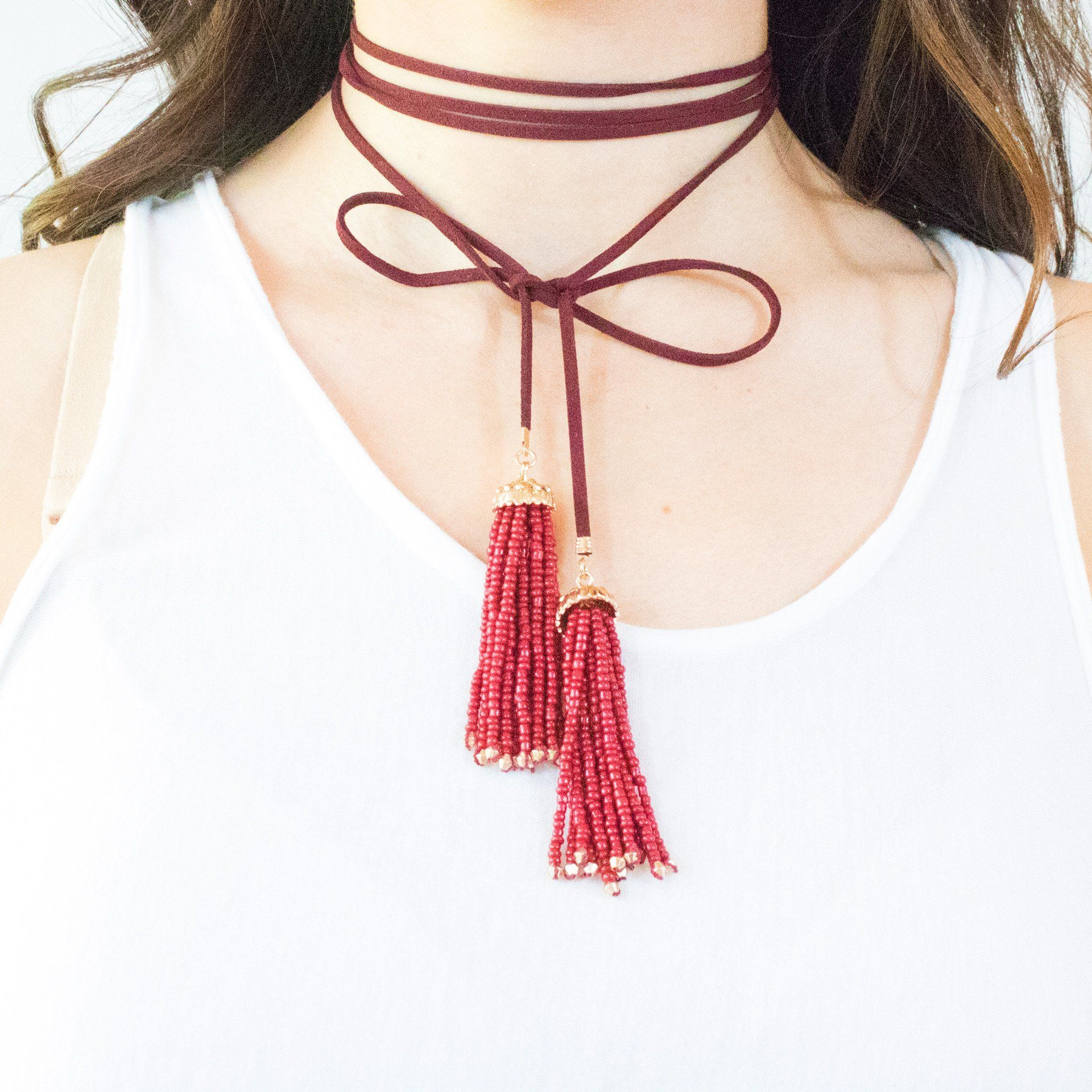 'Wrapped' Tassel Beaded Choker (2 Variations) - Arlo and Arrows