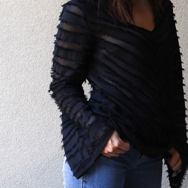 Black Sheer Textured Bell Sleeve Top