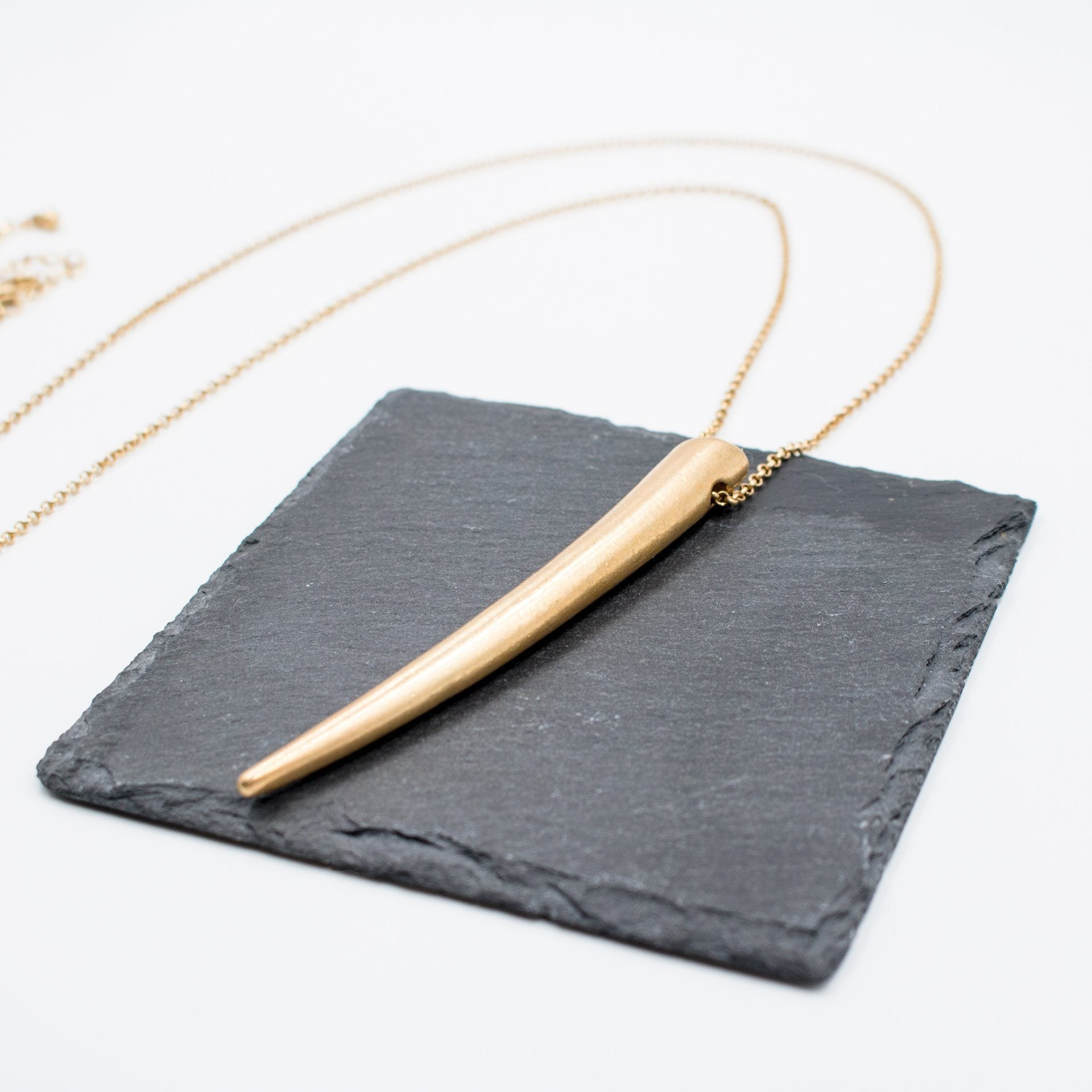 Worn Gold Horn Pendant Necklace - Arlo and Arrows