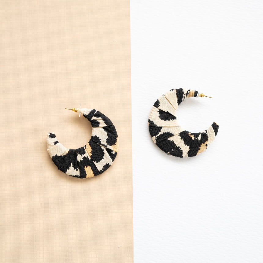 Black Ivory Fabric Crescent Earrings