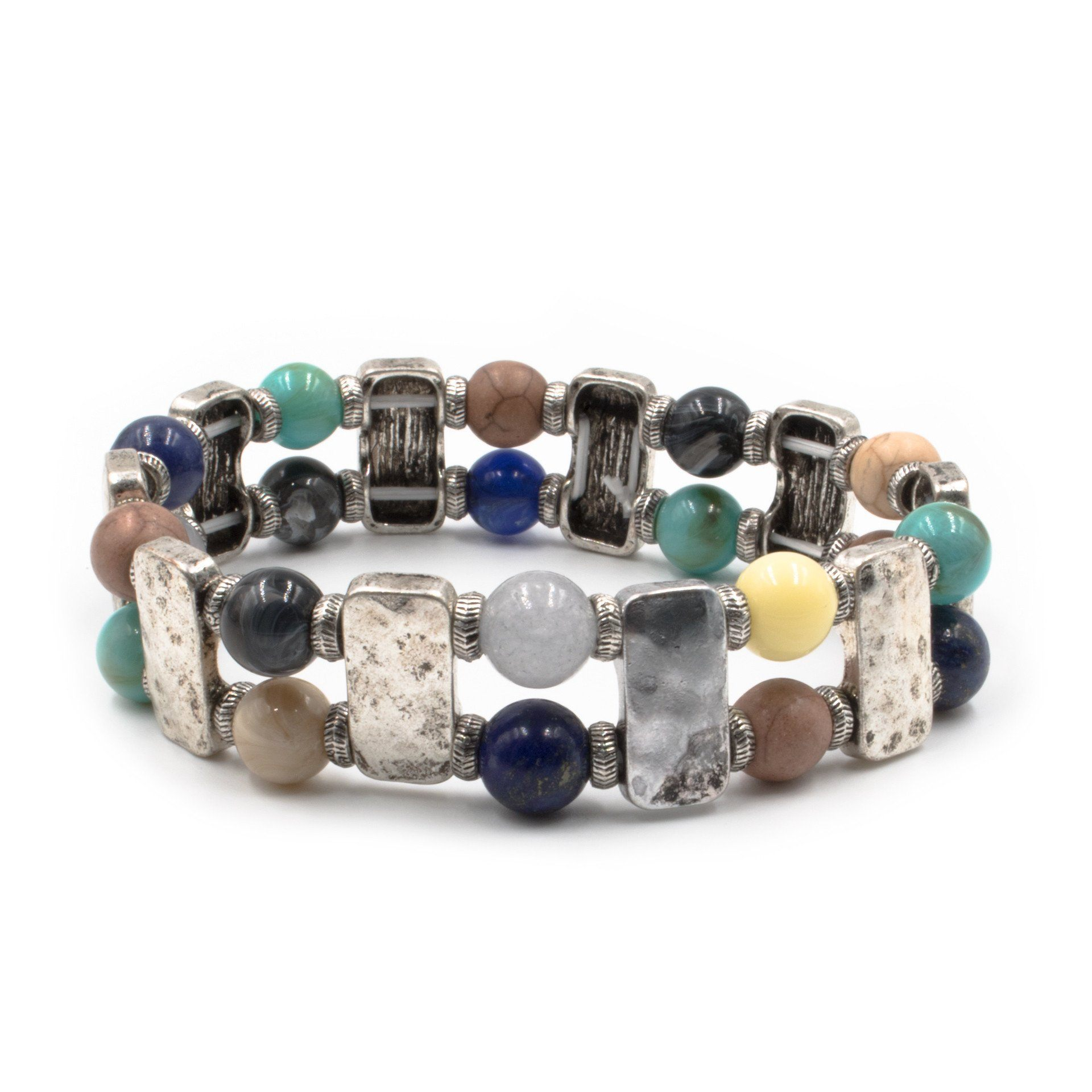 Silver Hammered Metal & Semi Precious Beads Stretch Bracelet (2 Variations) - Arlo and Arrows