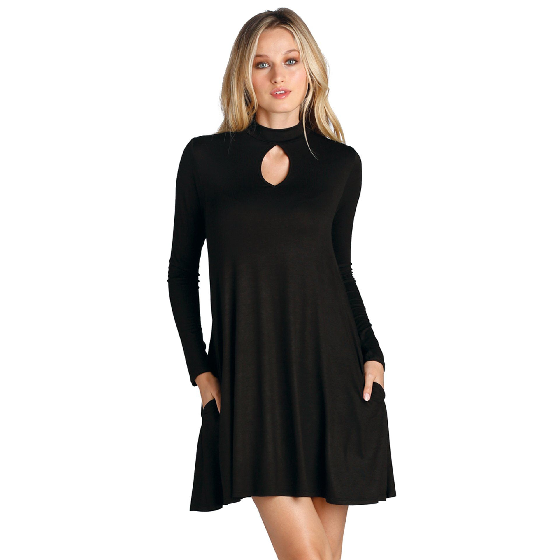Dress with Small Keyhole in Black - Arlo and Arrows