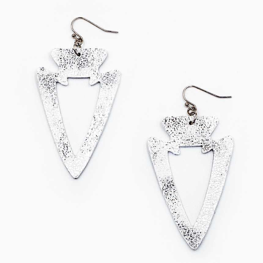 Silver Fabric Arrowhead Earrings