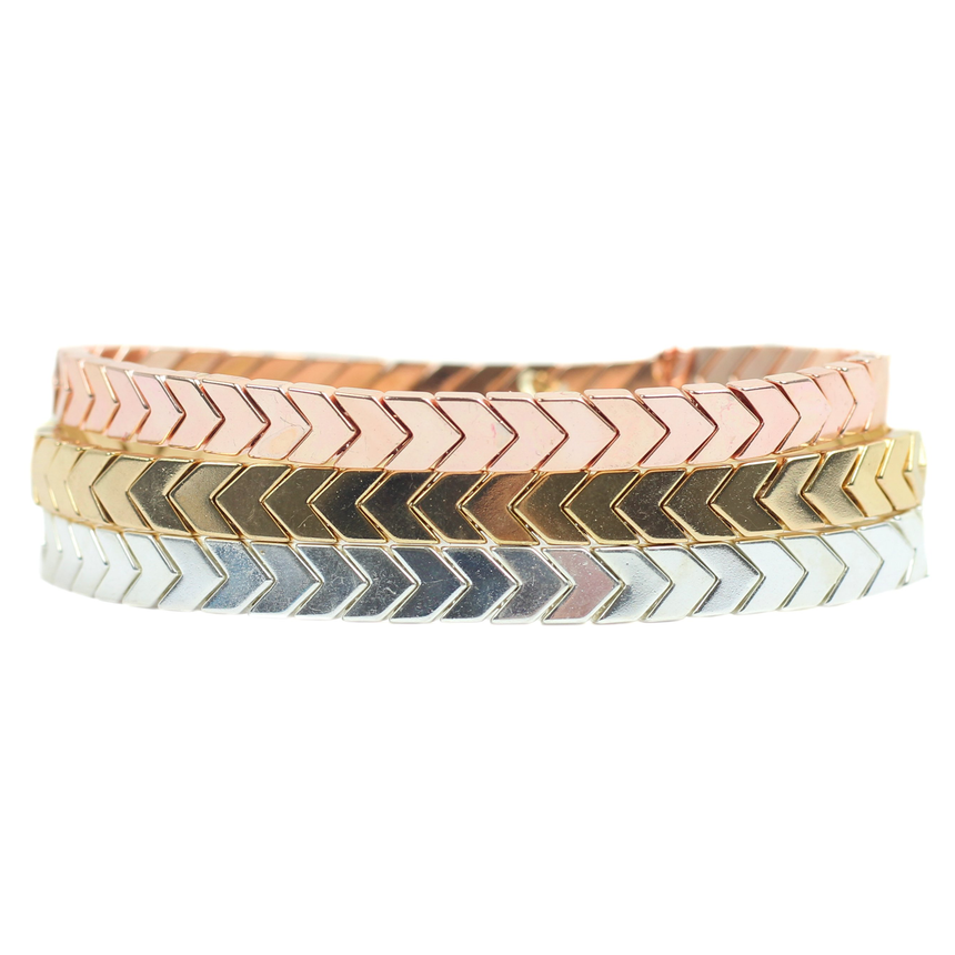 Mixed Metals Stretchy Bracelet Stack