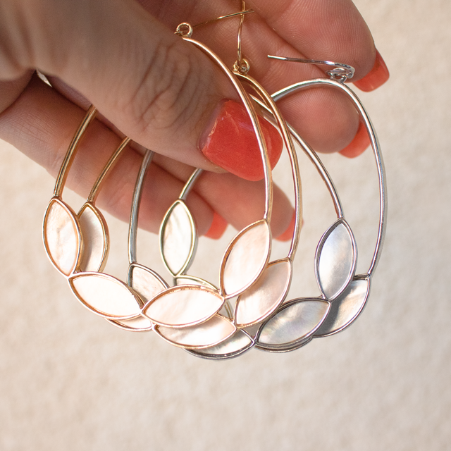 Mother Of Pearl Hoop Earrings Fashion Jewelry