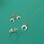 Mother of Pearl and CZ Crescent Gold Plate Jewelry Set - Arlo And Arrows