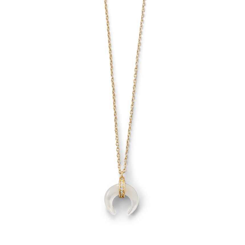 Mother of Pearl and CZ Crescent Gold Plated Necklace - Arlo And Arrows